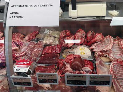 Fleischtheke im Synka-Supermarkt Maleme