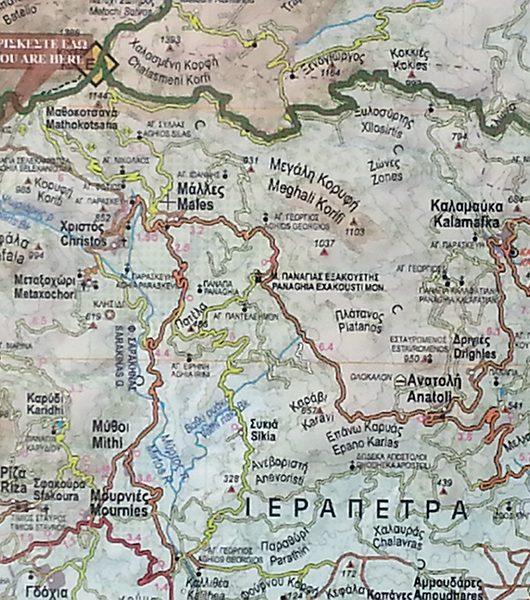 Karte der Bergergion zwischen Malles und Mithi