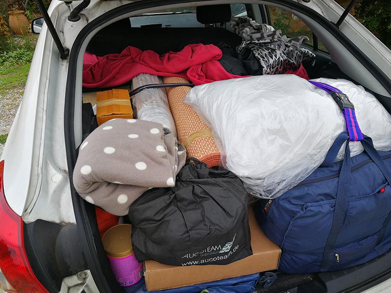 Auto bepackt auf dem Weg nach Kreta